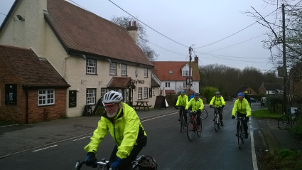 Alan leading the group away from The Prince of Wales